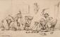 Hippolyte de BOUG D'ORSCHWILLIER  (1810-1868)  Singerie.  Lavis d'encre. Signé en bas à gauche. 15 x 24,5 cm.
