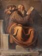 Ecole italienne du XVIIème siècle,  d'après Michel-ANGE  Le prophète Zacharie.  Toile marouflée sur carton.  Accidents et manques.  92 x 70,5 cm.  Reprise du prophète de la Chapelle Sixtine.