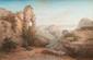Jean-Baptiste F. ARNAUD-DURBEC  (1827-1910)  Chasseur et chien dans un paysage.  Huile sur toile. 80 x 122 cm.