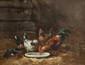 Alexandre DEFAUX (1826-1900)  Poulailler.  Huile sur toile. Cartel « Defaux »  sur le cadre. 46 x 38 cm.