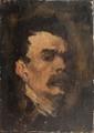 Stanislas TORRENTS (1836-1916)  Autoportrait.  Huile sur toile marouflée sur panneau.  Signée en bas à droite. 19,5 x 14,5 cm.
