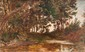 Théophile BERENGIER (1851-1928)  Mare et sous-bois.  Huile sur carton. Datée et signée en bas  à gauche. 24 x 36 cm.