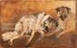 Edouard DUFEU (1840-1900)  Les chiens de l'artiste.  Huile sur toile. Signée en haut à gauche.  22 x 35 cm.
