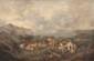 C. TRUILHE  Scène de pâturage.  Huile sur toile. Signée en bas à droite.  60 x 89 cm.