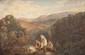 C. TRUILHE  Les lavandières.  Huile sur toile. Signée en bas à droite.  60 x 89 cm.
