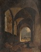 François-Marius GRANET (1775-1849)  Moine priant dans le cloître.  Toile.  Signée et datée 1830 en bas à droite.  40 x 33 cm.