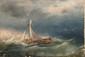 Lev Feliksovic LAGORIO (1827-1905)  Voilier rentrant au port dans la tempête.  Huile sur toile.  Signée et datée 1850 en bas à droite.  64 x 89 cm.