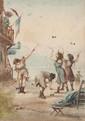 Emile HENRY (1842-1920)  Les joueuses de diabolo à Marseille.  Aquarelle. Signée et datée 1907 en bas  à droite. 36 x 25 cm.