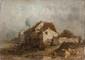 Eugène DESHAYES (1828-1890)  Maison et personnages.  Huile sur panneau. Cachet de l'atelier au dos.  16,5 x 23 cm.