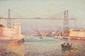 Henri BARET  L'entrée du port de Marseille au pont transbordeur.  L'entrée du port de Marseille au fort Saint Jean et la Major.  Paire d'huiles sur toile. Signées en bas à gauche.  38 x 55 cm. Chaque