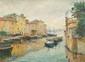 Edouard DUCROS (1856-1936)  Le miroir aux oiseaux à Martigues.  Huile sur toile.  Signée en bas à droite.  54 x 73 cm.