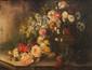 Lillie HONNORAT (XIX-XX)  Bouquet de fleurs sur un entablement.  Huile sur toile.  Signée en haut à droite. 65 x 53 cm.  (accident en haut à droite).