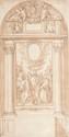 Ecole italienne du XVIIIème siècle  Projet de décor de chapelle d'église : Saint Grégoire le Grand  entouré de saints et de martyrs.  Plume et encre brune, lavis brun.  39 x 19,5 cm.