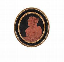 Médaillon en bas-relief ovale en cire rouge sur