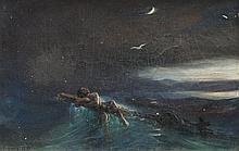 Théodore GUDIN (1802-1880)   Le naufrage.1837.   Huile sur toile.   Signée et datée en bas à gauche.   21.5 x 32 cm.