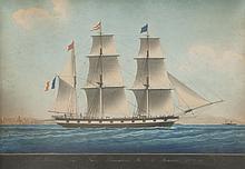 Joseph Honoré Maxime PELLEGRIN (1793-1869)   Le Richelieu, capitaine Fabre, armateur Maurin. 1854.   Aquarelle.   Signée en bas à droite.   44 x 58 cm.