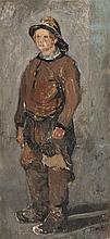 Edouard-Jacques DUFEU (1840-1900)   Le pompier.   Huile sur toile.   Signée en bas à droite.   50 x 24 cm.