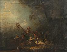 Ecole espagnole de la fin du XVIIIème siècle   Scène galante avec un pêcheur.   Sur sa toile d'origine.   42 x 56 cm.   Accidents.