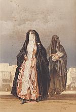 Amadeo PREZIOSI (1816-1882)   Les femmes voilées.   Gouache et crayon.   Signé en bas à droite.   42 x 30 cm.