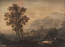 Ecole hollandaise du XVIIème siècle,   entourage de Roeland ROGHMAN   Deux bergers dans un paysage de montagnes.   Panneau de chêne, une planche, non parqueté.   19 x 23,5 cm.