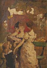 Eugène BAUDIN (1843-1907)   La guinguette.   Huile sur panneau.   34 x 24 cm.   Exposition :   Musée de Lyon, Eugène Baudin,   Juin - Septembre, 1983.