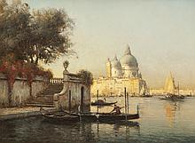 Antoine BOUVARD (1870-1955/56)   La Salute à Venise.   Huile sur toile.   Signée en bas à gauche.   48 x 63 cm.