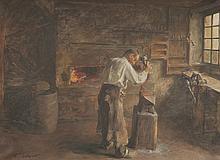 Jean Adrien GUIGNET (1816-1854)   Le forgeron.   Huile sur toile.   Signée en bas à gauche.   46 x 62 cm.