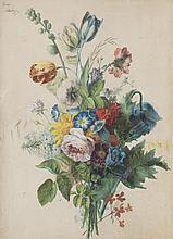Augustin Alexandre THIERRAT (1789-1870)    Bouquet de fleurs.   Aquarelle.   Signée en haut à gauche.   65 x 40 cm.