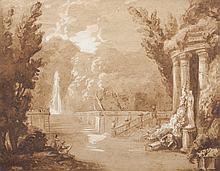 Jean-Baptiste COSTE (1746-1819)   Scène de parc.   Aquarelle et gouache.   Signée en bas à droite.   20 x 25 cm.