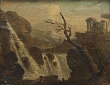 Louis Philippe CREPIN (1772-1851) Attribué à   Paysage avec une cascade.   Papier marouflé sur panneau.   15 x 19,5 cm.