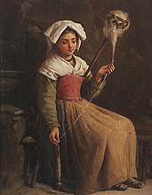 Charles Baptiste SCHREIBER (1845-1903)   La fileuse.   Huile sur panneau.   Signée en bas à gauche.   23 x 18 cm.