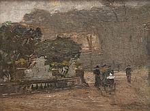 Luigi LOIR (1845-1916)   Au jardin du Luxembourg.   Huile sur panneau.   Signée en bas à gauche.   24 x 33 cm.