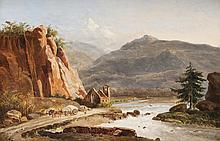 Ecole francaise vers 1830   Paysage de montagne animé.   Huile sur papier.   34 x 51 cm.