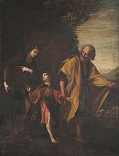 Ecole provençale vers 1620   Le retour de la fuite en Egypte.   Toile.   99,5 x 76 cm.   Accidents