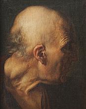 Ecole italienne de la fin du XVIIIème siècle   Profil d'homme.   Sur sa toile d'origine.   41 x 32,5 cm.