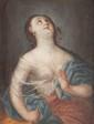 Ecole française fin du XVIIème siècle,  entourage de MIGNARD  Lucrèce.  Huile sur toile.  37 x 29 cm.