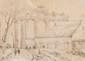 François-Marius GRANET (1775-1849)  Vue du temple de la Concorde à Naples.  Dessin.  Signé en bas à droite.  9 x 12,5 cm.