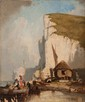 Jules Achille NOËL (1810-1881)  Pêcheurs en bord de côte.  Huile sur panneau.  Signée en bas à droite.  24 x 20 cm.