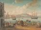 Ecole napolitaine du XIXème siècle  Veduta del vesuvio dal carmine napoli.  Gouache.  49 x 64 cm.