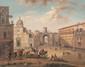 Ecole napolitaine du XIXème siècle  Veduta de porta capuara.  Gouache.  Signée et datée 1871 en bas à droite.  74 x 85 cm.