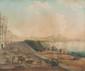 Ecole napolitaine du XIXème siècle  Napoli la Riviera di chiai.  Gouache.  48 x 60 cm.