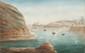 LEMONNIER  Digue du Port Dieudonné.  Aquarelle.  Signée et datée 1824 en bas à gauche.  12 x 19,5 cm.