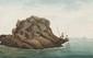 LEMONNIER  Etude de pêcheurs sur le rocher.  Aquarelle.  Signée en bas à droite.  15 x 22 cm.