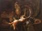 Philippe ROUSSEAU (1816-1887) Attribué à  Nature morte au lièvre et aux pièces d'orfèvrerie.  Huile sur toile.  Monogrammée R en bas à droite.  118 x 156 cm.