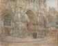 Anna GARDINIER (XIX-XX)  Eglise de Caudelier.  Huile sur toile marouflée. Signée en bas  à droite. 38 x 47 cm.