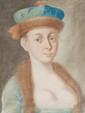 Ecole Russe de la fin du XVIIIème siècle  Portrait de femme à la robe bordée de fourrure.  Portrait d'homme au bonnet.  Paire de pastels.  48,5 x 37,5 cm.
