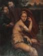 Ecole italienne du XVIIIème siècle  Suzanne et les vieillards.  Huile sur cuivre.  38 x 30 cm.