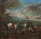 Ecole du XVIIème siècle,  école de Philips WOUWERMAN (1619-1668)  Cavaliers.  Huile sur panneau.  13,5 x 13,5 cm.