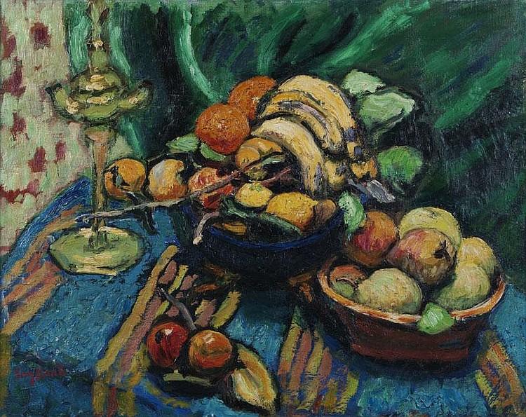 René SEYSSAUD (1867-1952)Nature morte aux fruits.Huile sur toile.Signée en bas à gauche.72 x 90 cm.