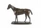 Pierre LENORDEZ (1815-1892) Bois Roussel, étalon pur sang anglais sellé. Sujet en bronze à patine médaille nuancée. Signé. H. : 30 cm. L. : 40 cm. Bois Roussel, Pureblood English Stallion. Bronze with medallion nuanced patina. (Signed). 11,8 in.